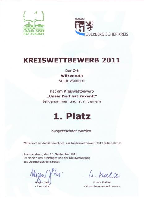 Unser Dorf hat Zukunft0001 Gold für Wilkenroth   Kinder begeisterten die Jury! Die Auszeichnung berechtigt zur Teilnahme am Landeswettbewerb in 2012