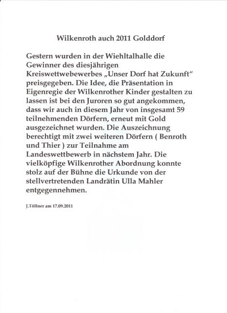 Wilkenroth Golddorf 20110001 Gold für Wilkenroth   Kinder begeisterten die Jury! Die Auszeichnung berechtigt zur Teilnahme am Landeswettbewerb in 2012