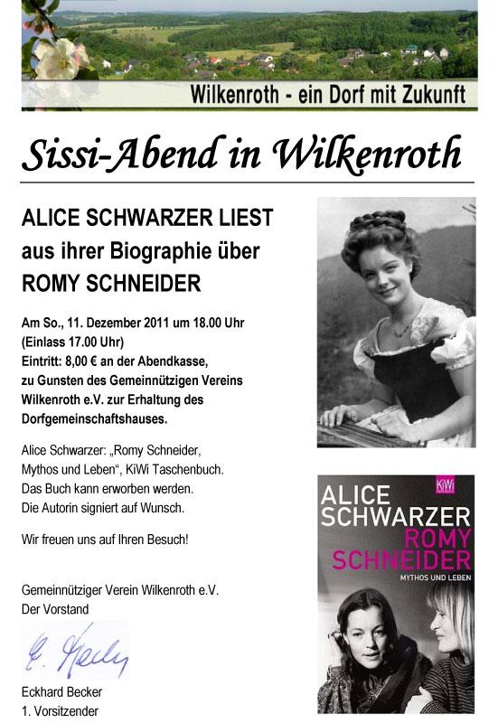 sissi Lesung im Dorfhaus   Alice Schwarzer liest aus ihrer Biographie über Romy Schneider: